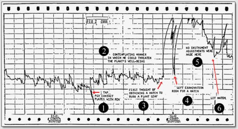 Backster's polygraph measuring the plant's electrical response to the intention of fire