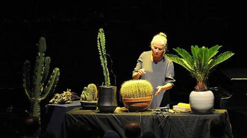 Robyn Schulkowsky performing Cage's Branches for amplified cactuses and plants at the BBC Proms