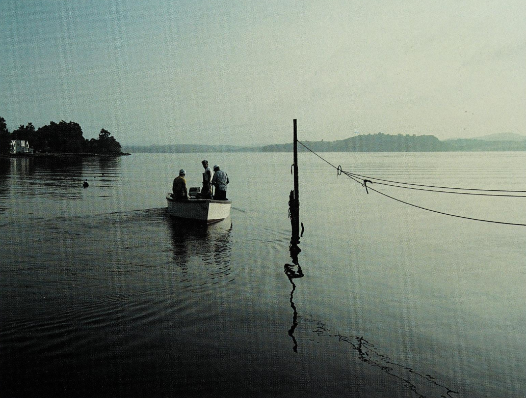Hudson River fishermen heading out at dawn, Peter Lourie, 1998